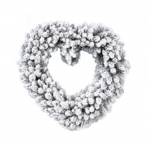 Snowy Heart Wreath, Green/ White