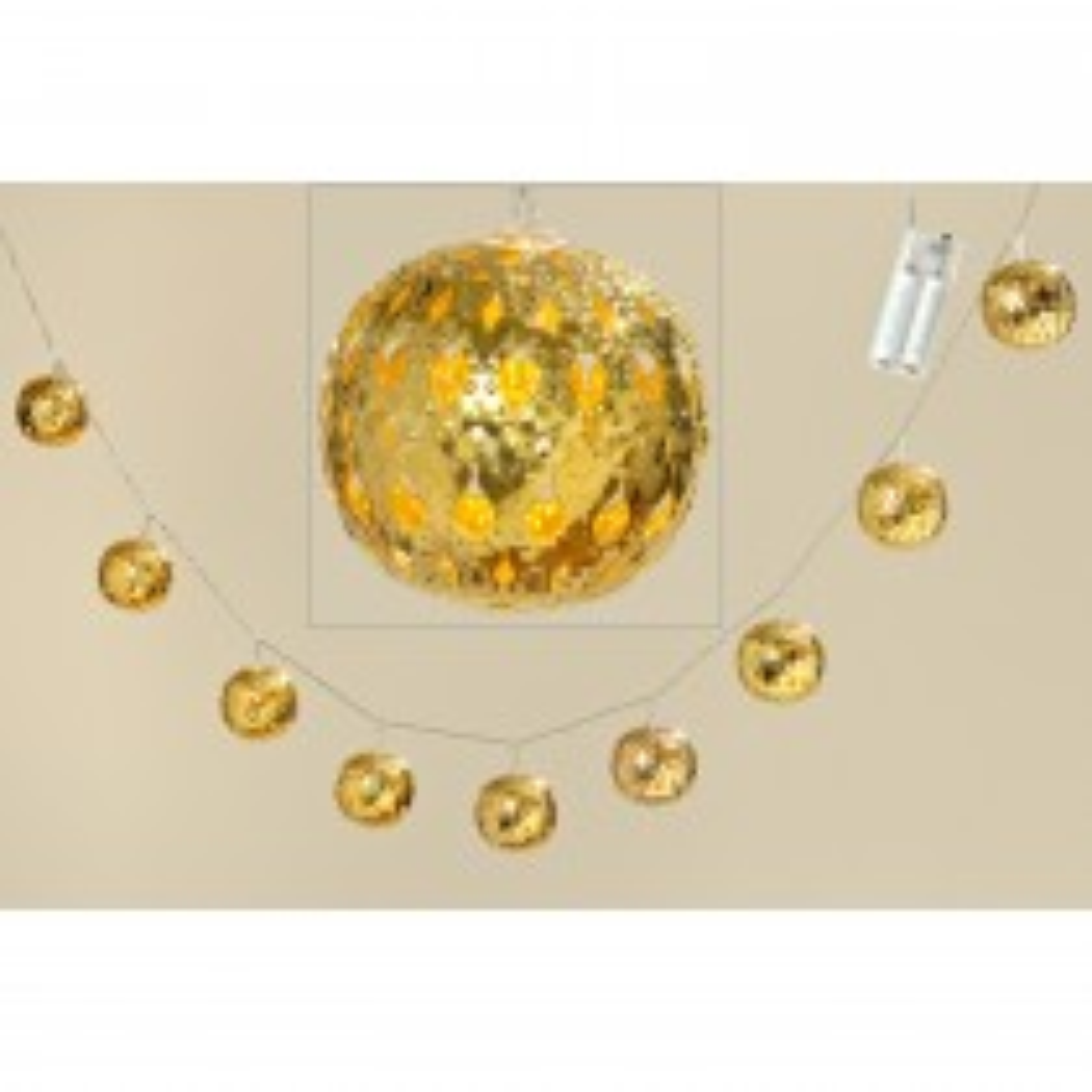Christmas LED Ball Chain Lights, Gold