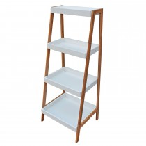 Casa Bathroom 4 Tier Shelf, Brown/ White