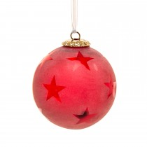 Casa Crackle Star Hanging Ball, Red