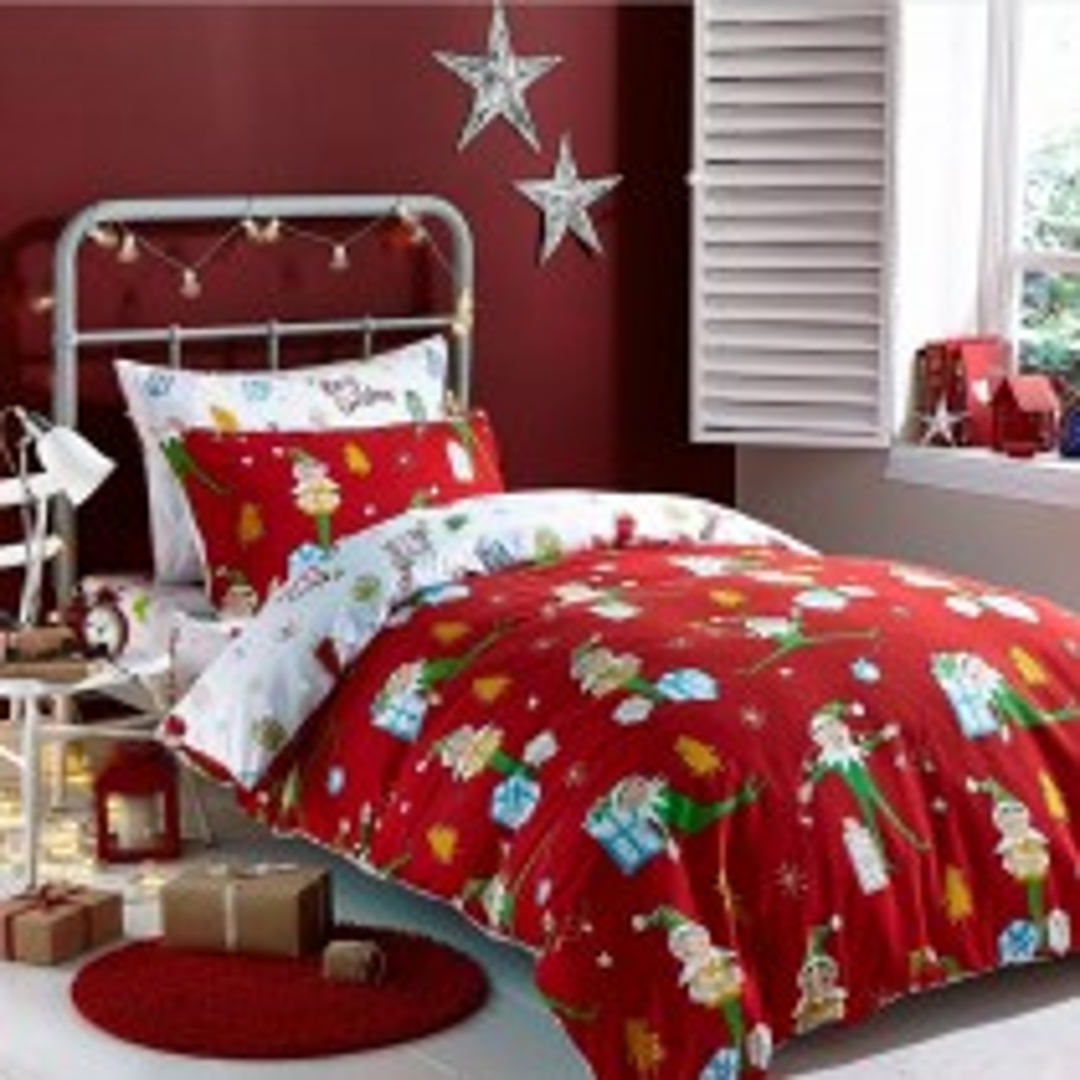 Brushed Cotton Elfie Bed in a Bag, Single, Red