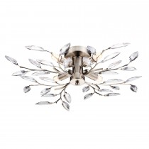 Willow 4 Arm Ceiling Light, Satin Silver