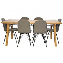 Casa Nordic Rustic Table & 6 Chairs