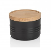 Le Creuset Stoneware Small Storage Jar, Wooden Lid, Black