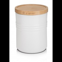 Le Creuset Stoneware Medium Storage Jar, Wooden Lid, Cotton