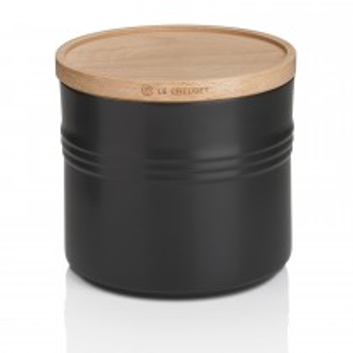 Le Creuset Stoneware X Large Storage Jar, Wooden Lid, Black