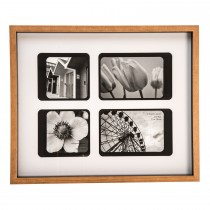 Casa Retro 4 Aperture Picture Frame, Black/natural