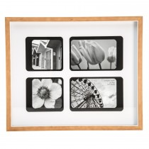 Casa Retro 4 Aperture Picture Frame, White/natural