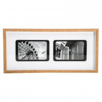 Casa Retro 2 Aperture Picture Frame, White/natural