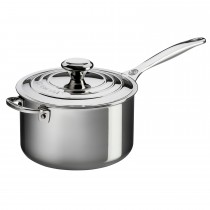 Le Creuset Sig Ss 20cm Saucepanw/lid & Hh, Stainless Steel