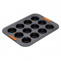 Le Creuset Bak 12 Cup Mini Muffin, Black