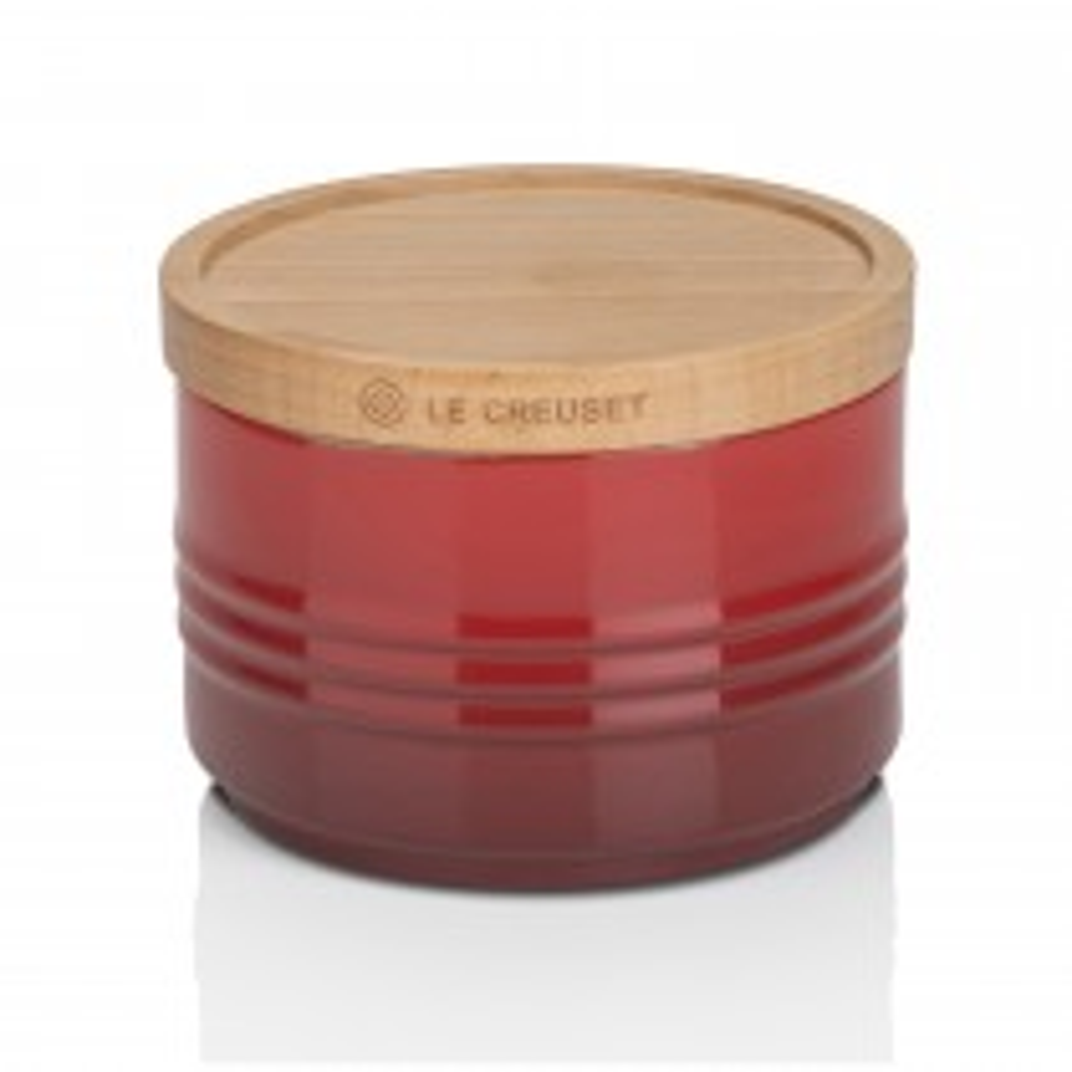 Le Creuset Stoneware Small Storage Jar, Wooden Lid,  Cerise