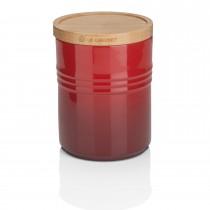 Le Creuset Stoneware Medium Storage Jar, Wooden Lid,  Cerise