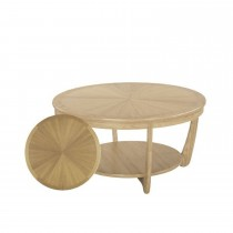 Nathan Shades Oak Round Sunburst Top Coffee Table