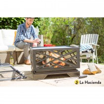 La Hacienda Brooklyn Firepit With Grill, Brushed Bronze Effect