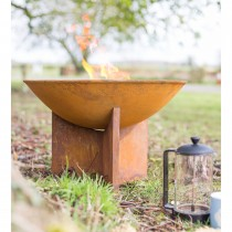 La Hacienda Kala Oxidised Firepit and Stand, Natural Rusted