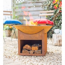La Hacienda Fasa Oxidised Firepit and Stand, Natural Rusted