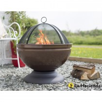 La Hacienda Globe Steel Firepit and Grill, Bronze