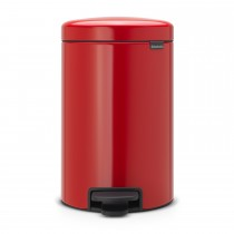 Brabantia newIcon Pedal Bin, 12 Litre, Passion Red
