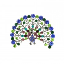 Multi Coloured Fan Tail Peacock Brooch