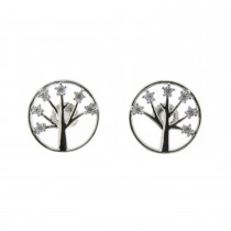 Rhodium Plated Crystal Tree Of Life Earrings
