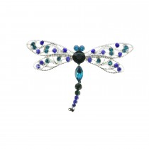 Indulgence Silver Plated Aqua, Blue & Purple Crystal Detail Dragonfly Brooch