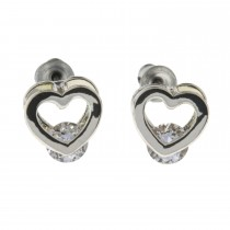 Indulgence Silver Plated With Cubic Zirconia Crystal Heart Stud Earrings