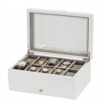 Lionite Mele 10 Watch Box With Drawer, White