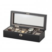 Lionite Mele Black 5 Watch Box Lockable, Black