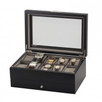 Lionite Mele 10 Watch Box & Drawer, Black