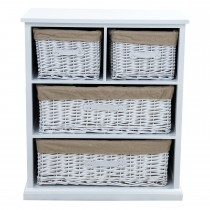 Casa Cabinet With Bamboo Drawers, White