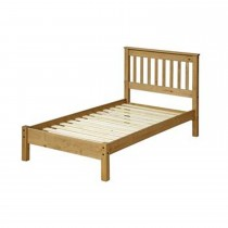 Core Products Single Slatted Low End Bed Onesize, Waxed Pine