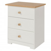 Core Products Colorado 3 Drw Bedside Cabinet Onesize, Soft Cream & Oak