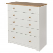 Core Products Colorado 5 Drawer Chest Onesize, Soft Cream & Oak