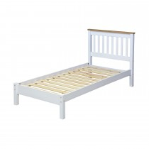 Core Products Capri Sgl Slatted Low End Bed Onesize, Waxed Pine & White