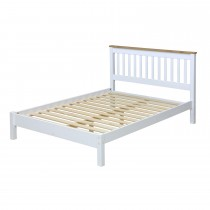 Core Products Capri Dbl Slatted Low End Bed Onesize, Waxed Pine & White