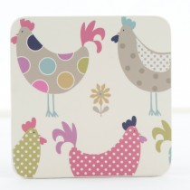 Denby Cockerel And Hens 6 Piece Coasters, Beige