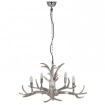Aimbry 5 Arm Antler Chandelier, Silver