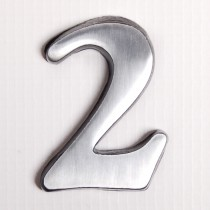 """House Nameplates S/adh 2"""" Alu Numbers 2, Silver"""