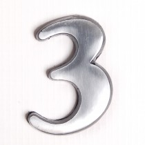 """House Nameplates S/adh 2"""" Alu Numbers 3, Silver"""