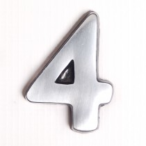 """House Nameplates S/adh 2"""" Alu Numbers 4, Silver"""
