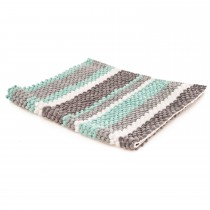 Casa Micro Stripe Bath Mat, Grey/Charteuse