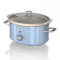 Swan 3.5 Litre Retro Slow Cooker, Pastel Blue