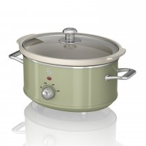 Swan 3.5 Litre Retro Slow Cooker, Light Green