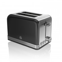 Swan 2 Slice Retro Toaster, Black