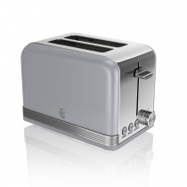 Swan 2 Slice Retro Toaster, Grey