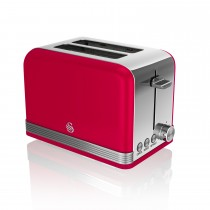 Swan 2 Slice Retro Toaster, Red