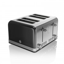 Swan 4 Slice Retro Toaster, Black