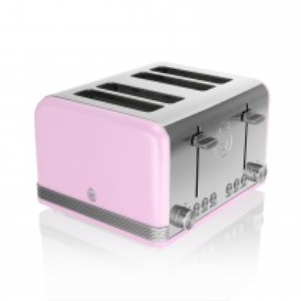Swan 4 Slice Retro Toaster, Pastel Pink