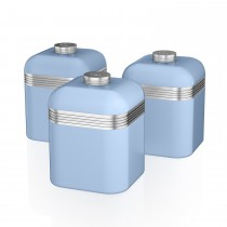 Swan Retro Set Of 3 Canisters, Pastel Blue